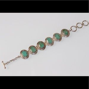 Jewelry - Sterling Silver Emerald Toggle Lock Bracelet